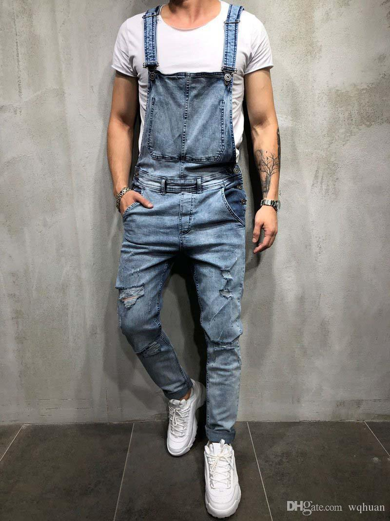 c4f07678cc6 2019 2019 Fashion Mens Ripped Jeans Rompers Casual With Belt Jumpsuits Hole  Denim Bib Overalls Bike Jean From Wqhuan