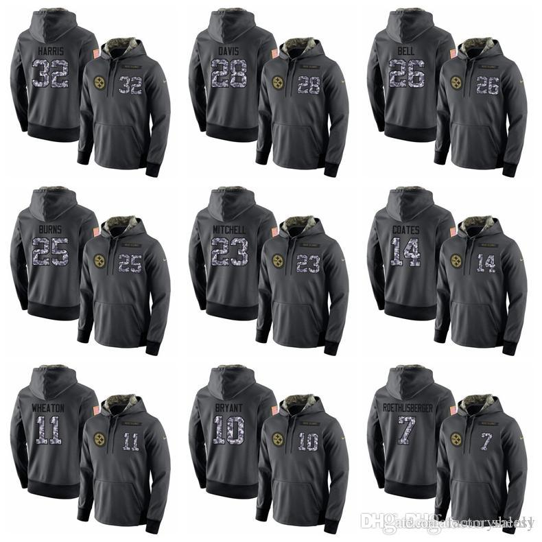 quality design 8cbe8 bf408 NEW Top Quality Hoodies Steelers Sweatshirt Mens Stitched admiral Hoodie  Hot Sale 100% Cotton Team & Player Name Dark gray