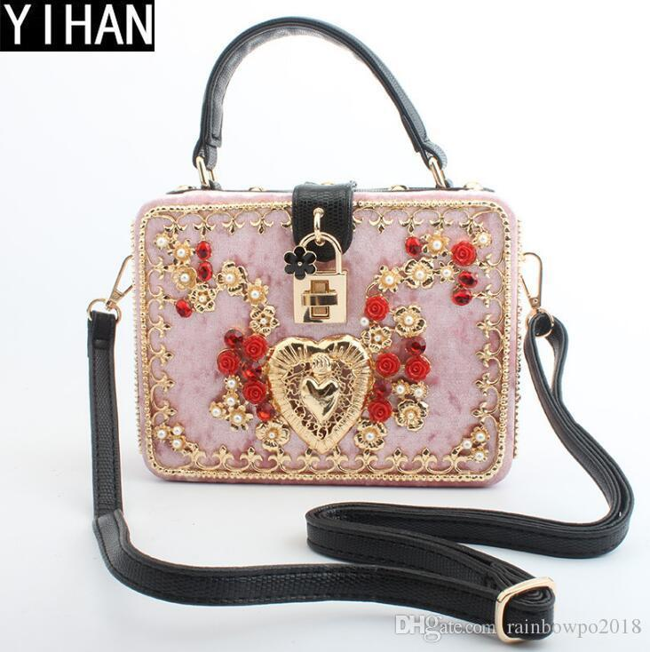 fd1c548b83 Factory Own Brand Handbags High-quality Velvet Handbag Metal Carved ...