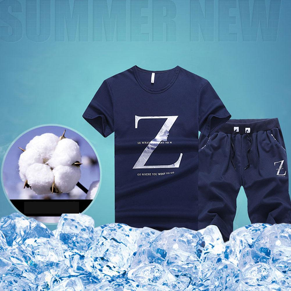 Men Letter Printed T-shirt+shorts Set Two-piece Suit Round Collar Daily Slim Fit Short Sleeve Causal Summer Base Holiday Boys Men's Clothing