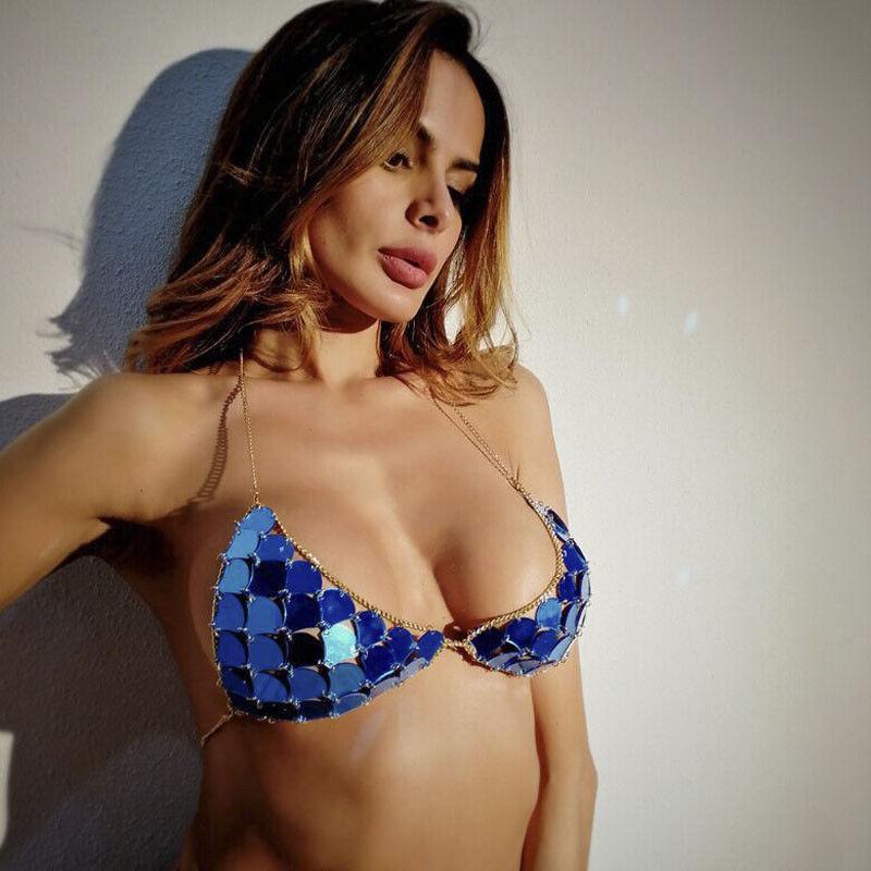 Bikini Mujeres Tops coloridos de las lentejuelas traje de baño sujetador push-up Ropa de playa brasileña Biquini sirena de natación Tops Traje