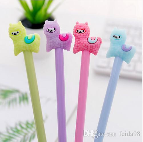 Lytwtw's Gel Pens Korean Cartoon Creative Alpaca Neutral Pen Student Writing Office Stationery Black Signature Pen GB627
