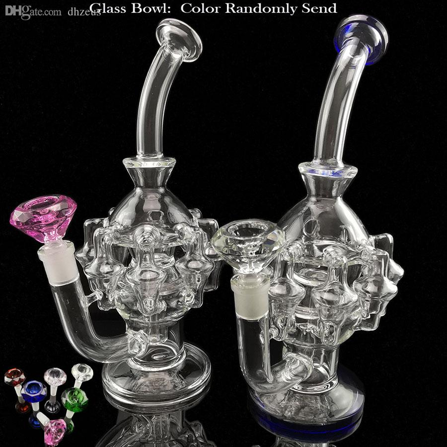 Dhzeusshop Super vortex big glass bong dab rig rectcler bubbler with bowl quartz banger glass water pipe glass pipe smoke accessory