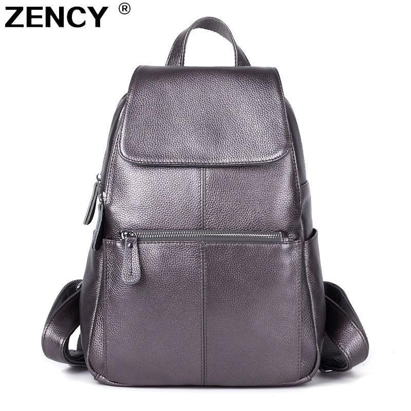d8d740997edaf8 Zency Backpack Real Genuine Leather Top Quality Cowhide Women Female ...