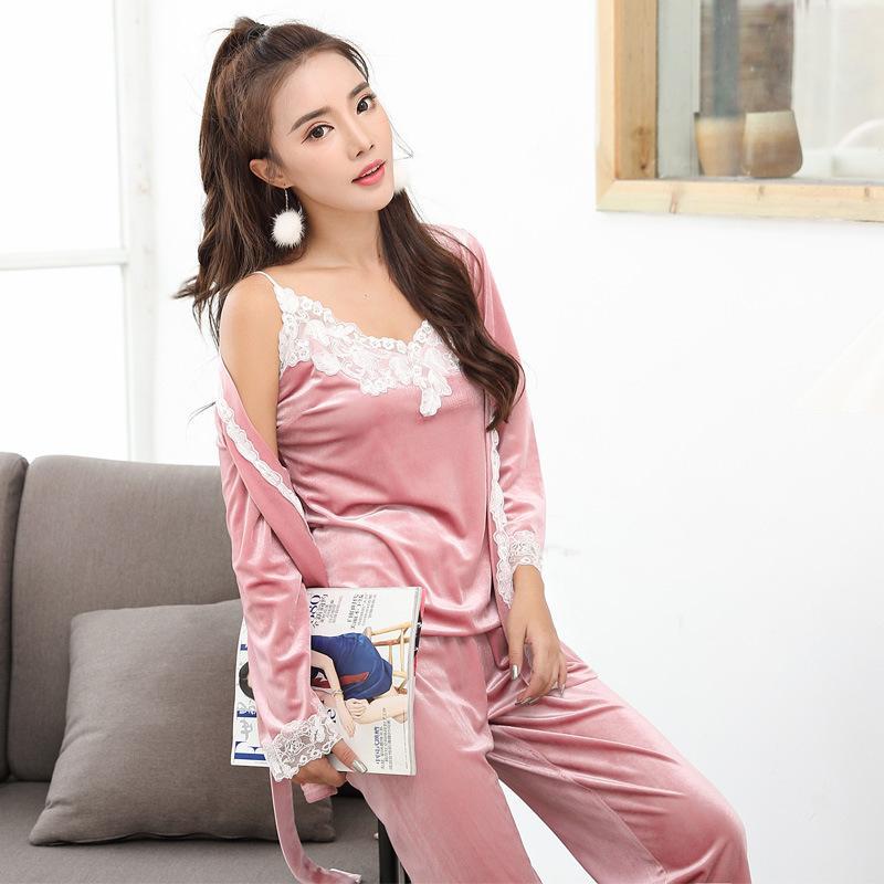 0e835bd2e5b2 Women s Pajama Set Autumn Winter Warm Sleepwear Gold Velvet Sexy ...