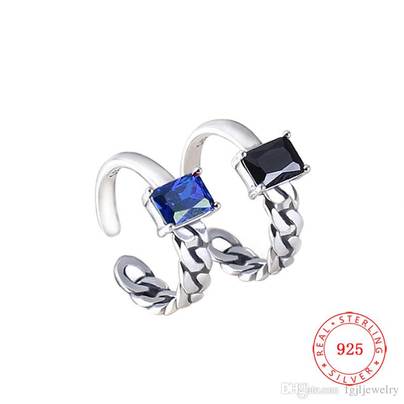 China cross ring design fashion 925 Sterling Silver Oxidized finger ring Black Blue gem modern jewelry