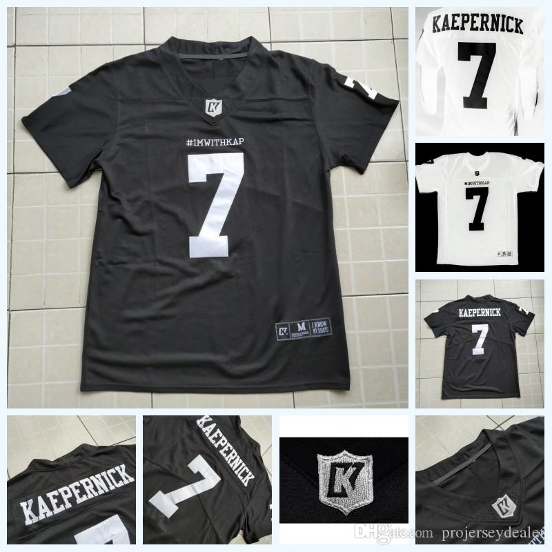 new product 15568 68bb5 Imwithkap Movie Jersey 7 Colin Kaepernick I m With Wap American Football  Jersey Black White Mens Womens Youth Double Stitched Name & Number