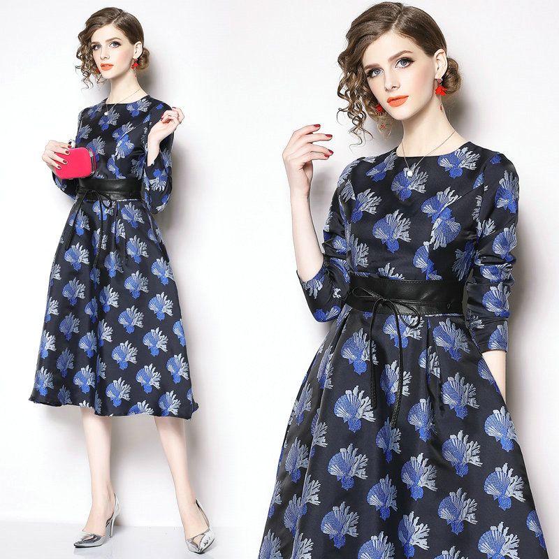 86f0e96f2ff 2019 Spring New Quality Womens Dress Long Sleeve Jacquard Midi Dress Prom  Evening Dresses Fashion Slim Dinner Dresses Sweater Dress Sexy Party Dresses  From ...