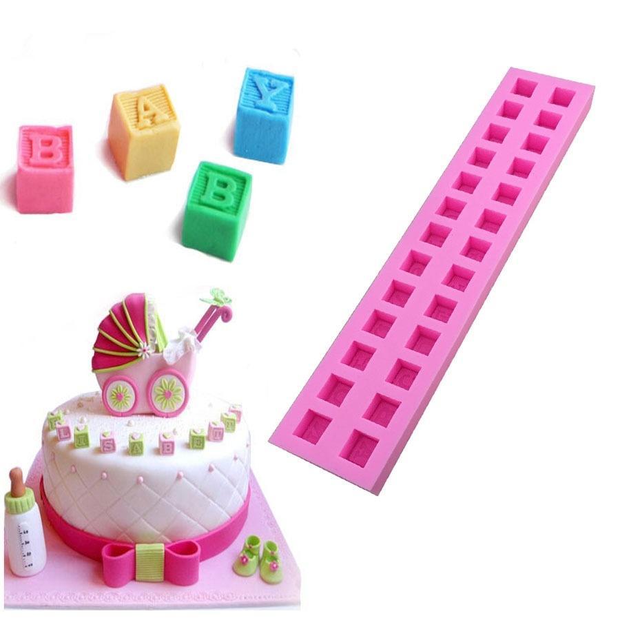 Wholesale 1 PCS 3D English Letters Baby Building Block Fondant Cake Molds  Chocolate Mold Baking Tools