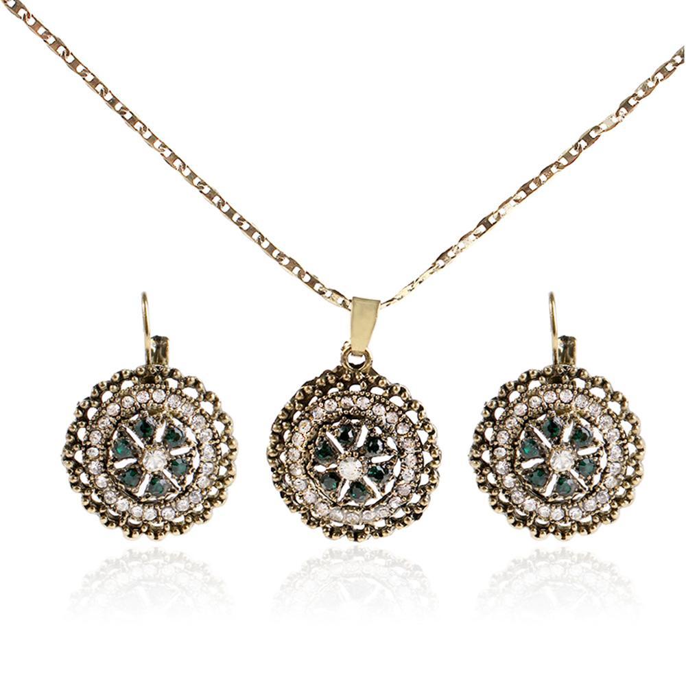 Retro Diamonds Dangle Earrings Pendant Necklaces for Women Crystal ... ee32f73489
