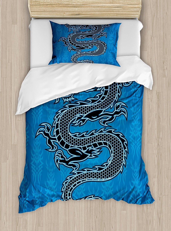 Acquista Copripiumino Giapponese Dragon Set Black Dragon Su Sfondo
