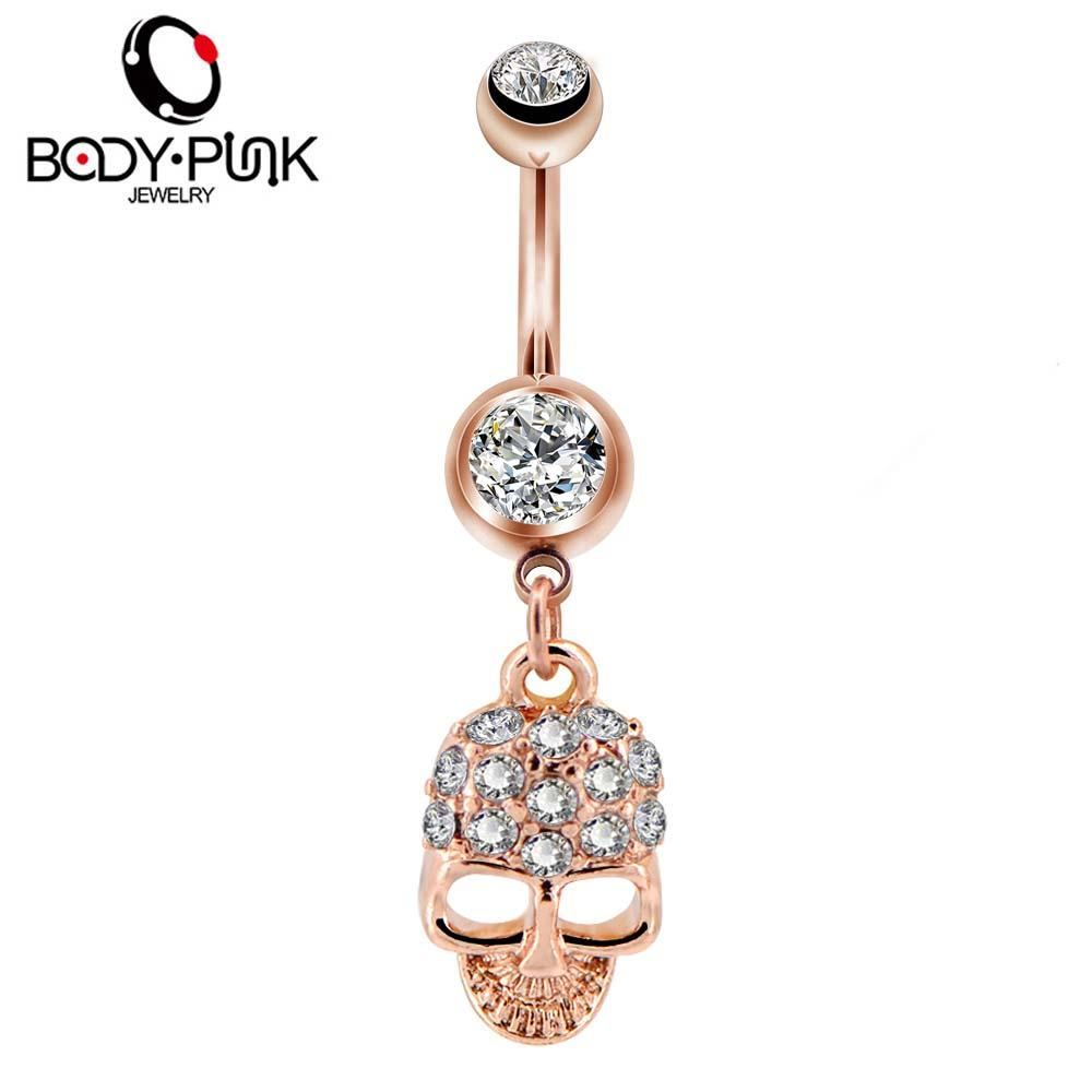 Body Punk 1pc 14g Rose Gold Belly Button Rings Surgical Steel Bar Navel Piercings Pieciclear Cz Body Jewelry For Women