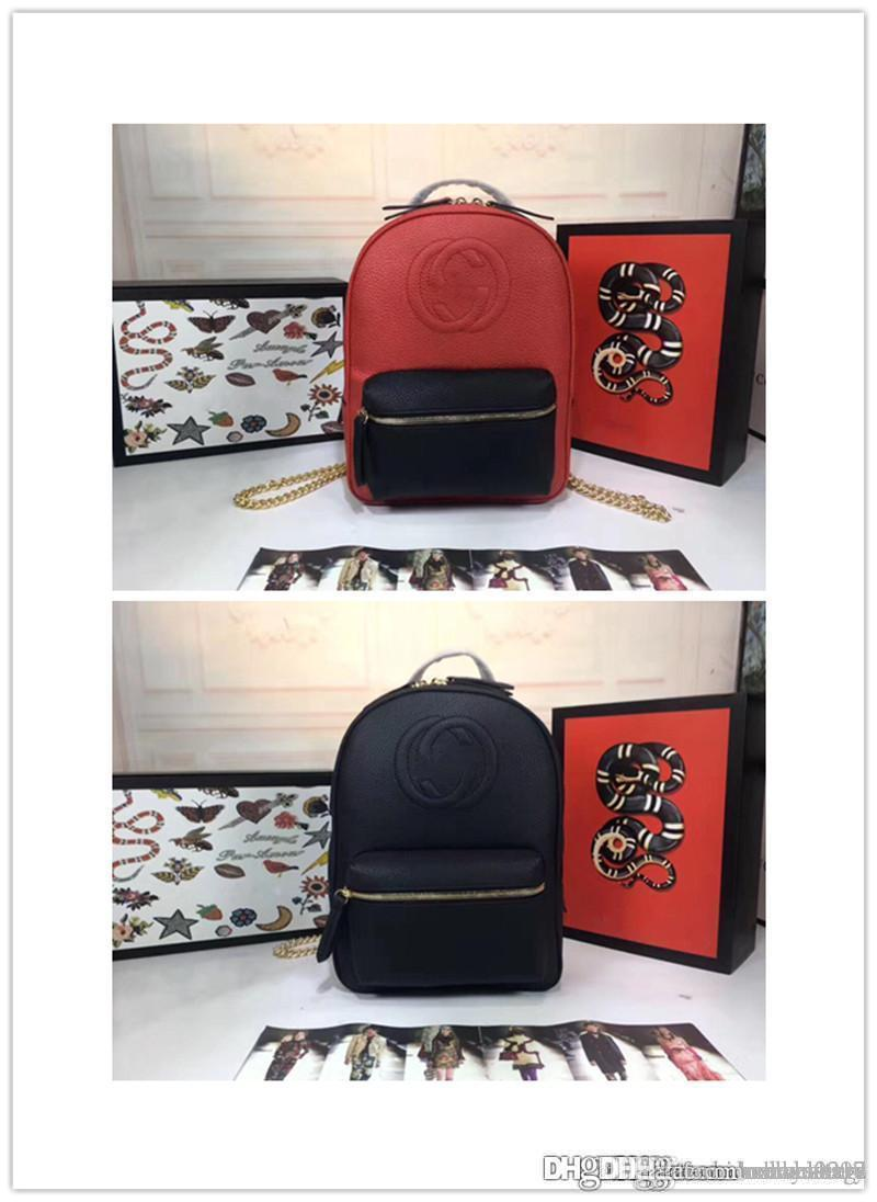 d325d1a50dcd 2018NO.2 GG Soho Backpack Leather Black NEW Soho Red Calf Leather Chain  Backpack Shoulder Italy Pebble Size  31x23x13cm Womens Handbags Body Bags  From ...