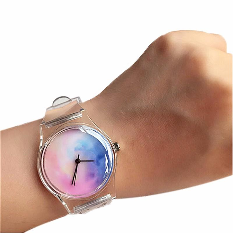 Lover's Watches Transparent Clock Silicone Watches Women Sport Casual Quartz Wristwatches Novelty Crystal Ladies Watch Cartoon Reloj Mujer