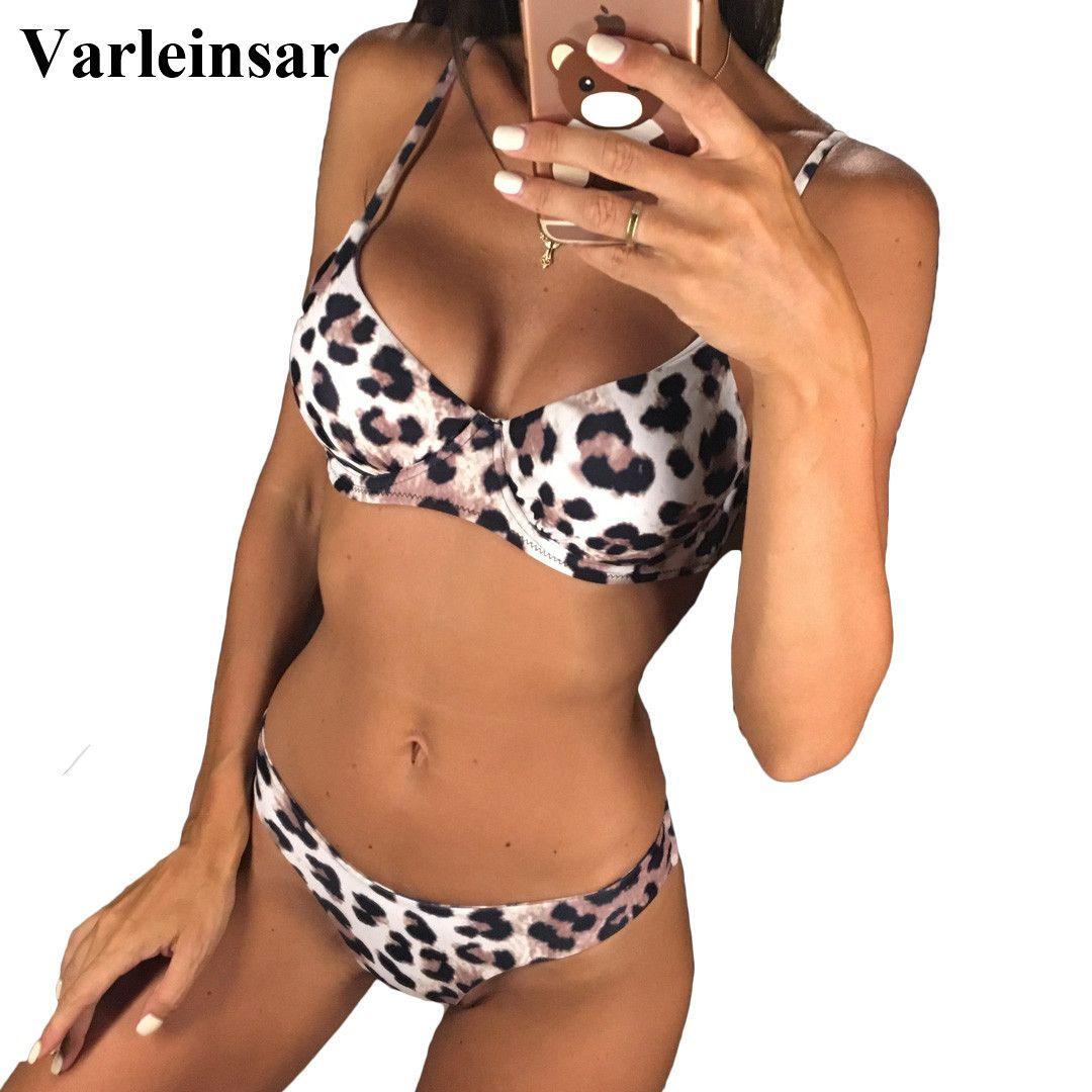 23ca3d323d 2019 New Sexy Leopard 2019 Bikini Women Swimwear Female Swimsuit Two Pieces  Bikini Set Underwire Bather Bathing Suit Swim Wear V872 From Hlq1027