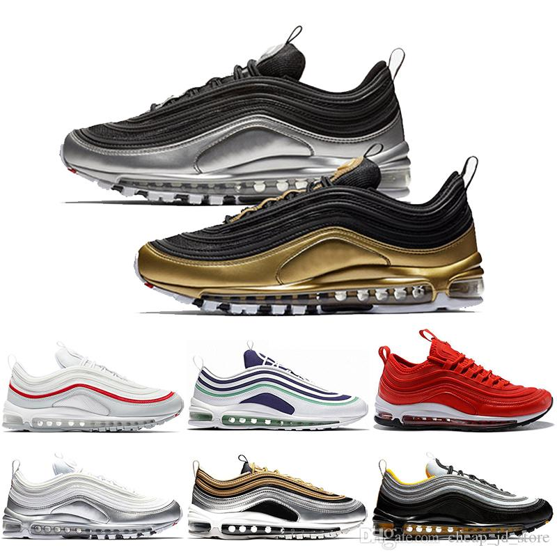 sports shoes bd987 fa3cd Acquista Nike Air Max 97 Shoes Metallic Pack 97 97s QS Scarpe Da Corsa Gym  Red Grape Pack Mustard Rainbow Uomo Donna Designer Tainer Sports Sneakers  36 45 A ...