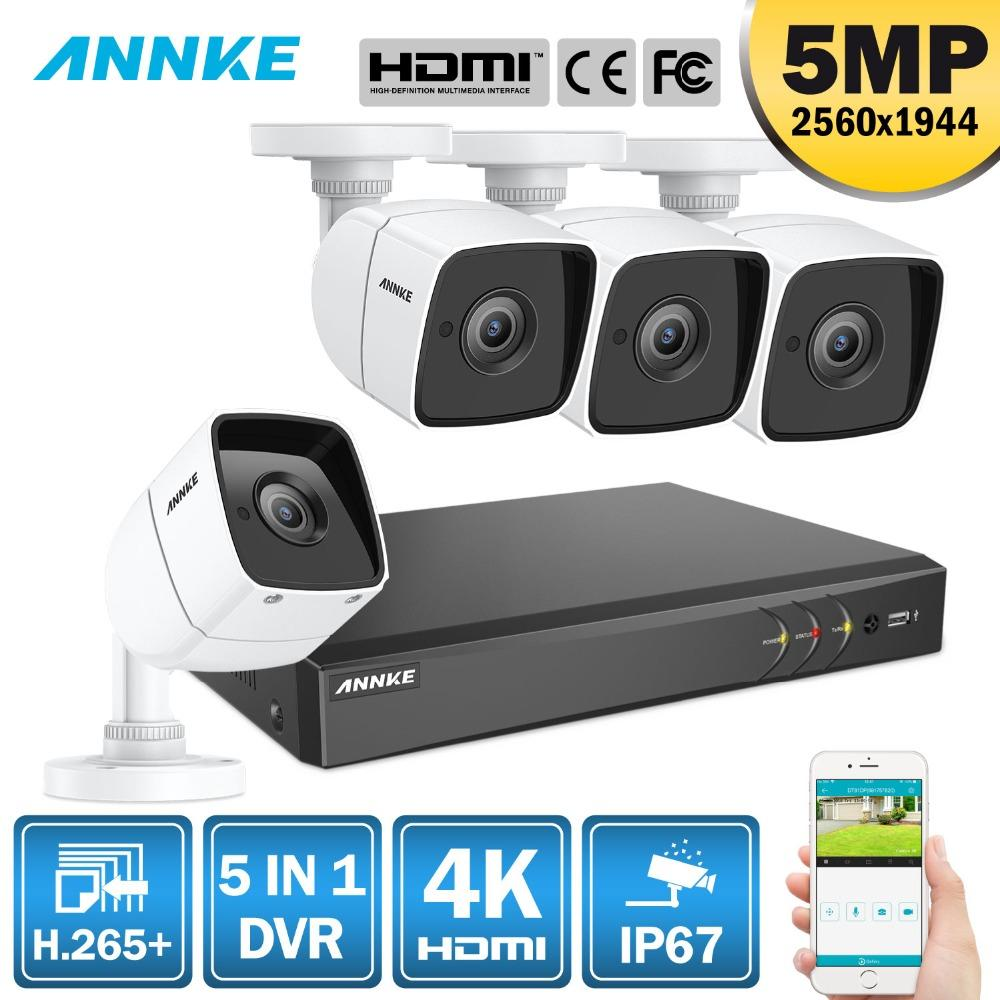 ANNKE 8CH 5MP 5IN1 Ultra HD CCTV Camera System H 265 With 4PCS 5MP TVI  Weatherproof White Security Surveillance System