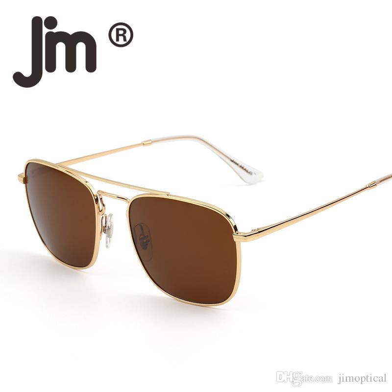 3870d74bf Classic Square Sunglasses Premium Glass Lens Flat Metal Eyewear Men Women  Fashion Eyewear Glasses Trendy Style Bifocal Sunglasses Retro Sunglasses  From ...