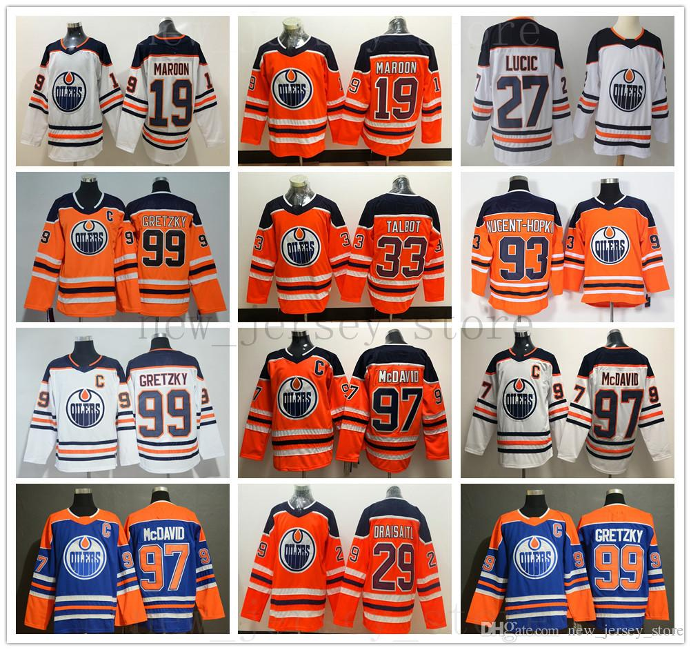 wholesale dealer e6602 8ecbb Edmonton Oilers Hockey 97 Connor McDavid Jersey Mens Patrick Maroon Milan  Lucic Leon Draisaitl Cam Talbot Ryan Nugent-Hopkins Wayne Gretzky