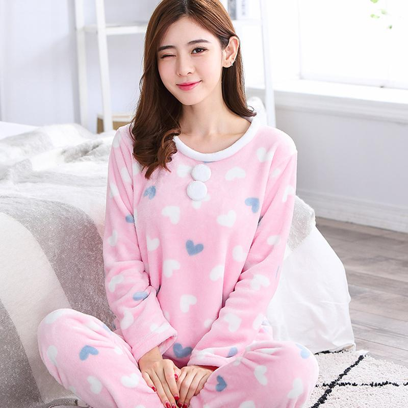 2019 Cute Girl Winter Warm Pajamas Set Elegant O Neck Women Shirt Pant  Sleep Wear Casual Thick Flannel Home Clothes Nightwear From Flaminglily cddcfe2db