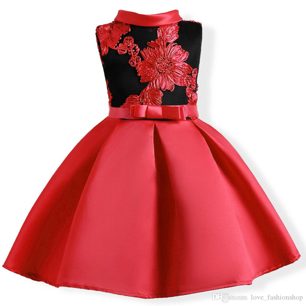 13efe833d 2019 Retail Baby Girls Wedding Dress With Belt 2019 Kids Embroidered Party Prom  Dress Children Girls Satin Princess Full Dress Boutique Clothes From ...