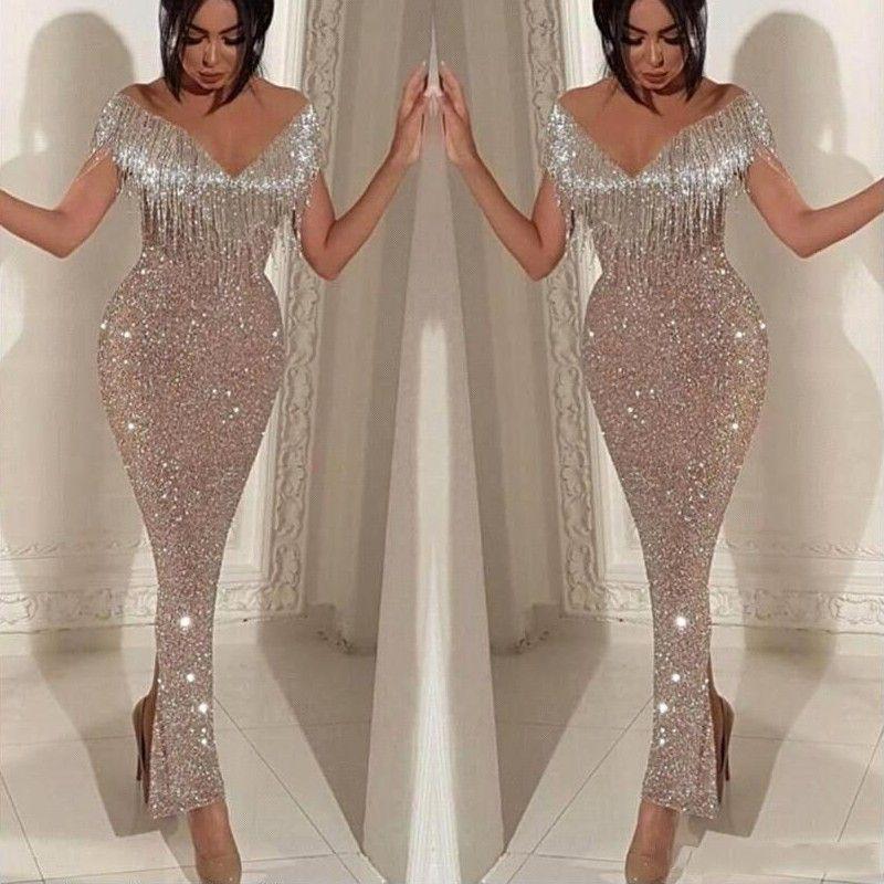 Ihram Kids For Sale Dubai: Silver Sparkly Mermaid Tassel Prom Dresses 2019 Afraic