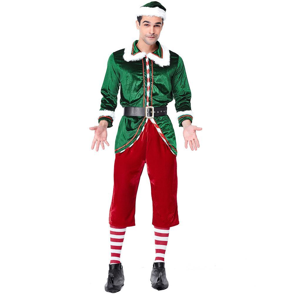 Spirit Of Christmas Past Costume.Velvet Red Green Spirit Of Christmas Elves Costumes Cosplay Suit For Man Christmas Party Cosplay