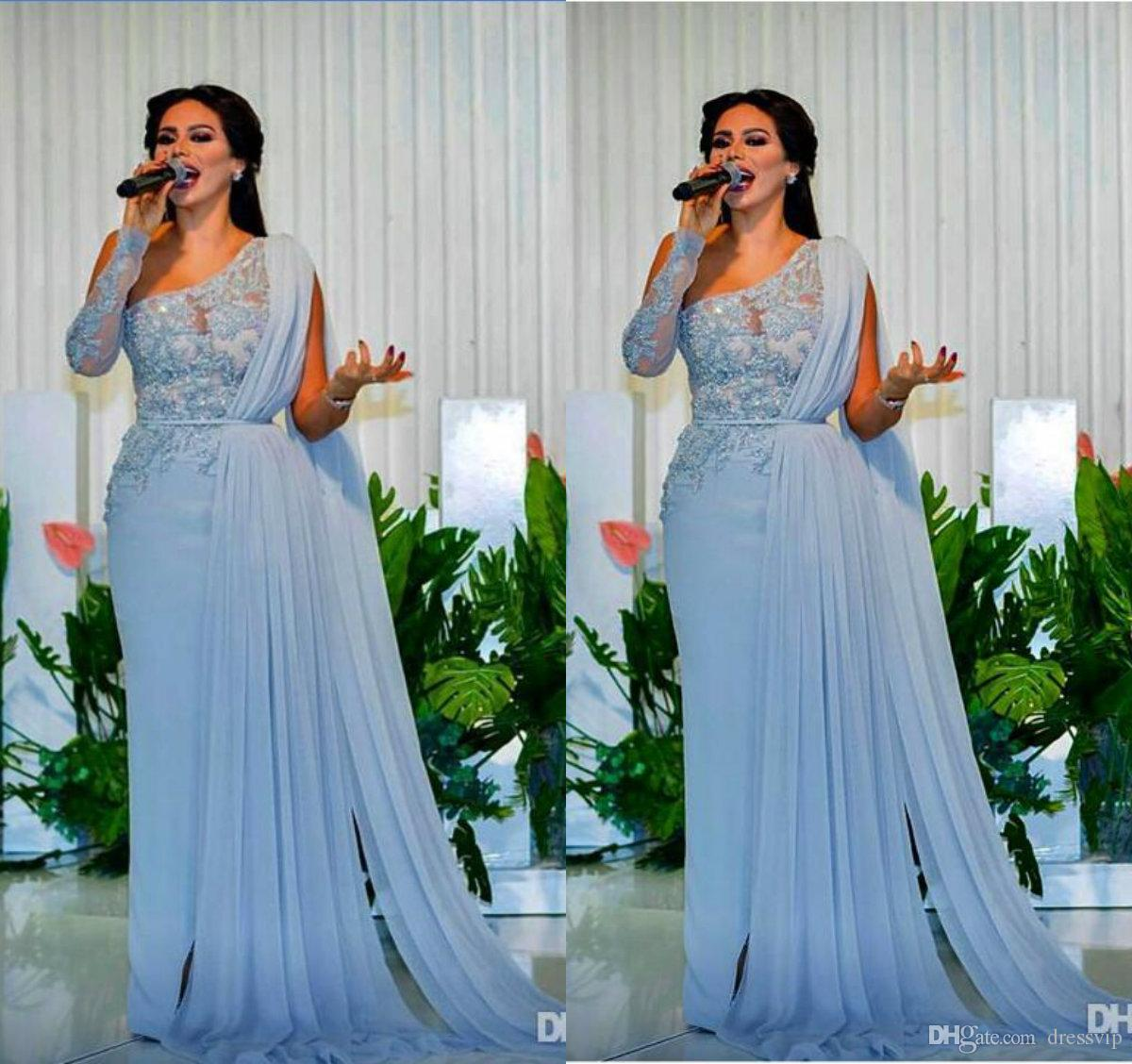 2c635df738f Blue Prom Dresses One Shoulder Lace Appliques Beads A Line Chiffon A Line  Plus Size Evening Gowns Custom Made Formal Party Dress Prom Dresses  Websites Red ...