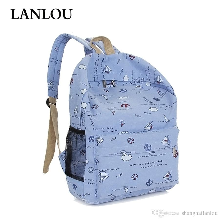 2539aac01c LANLOU New Women Backpack Casual Canvas Printing Travel Bag Outdoor Trend  Backpack Student Bag Backpack Hot Luxury Female Bags Travel Backpack Cute  ...
