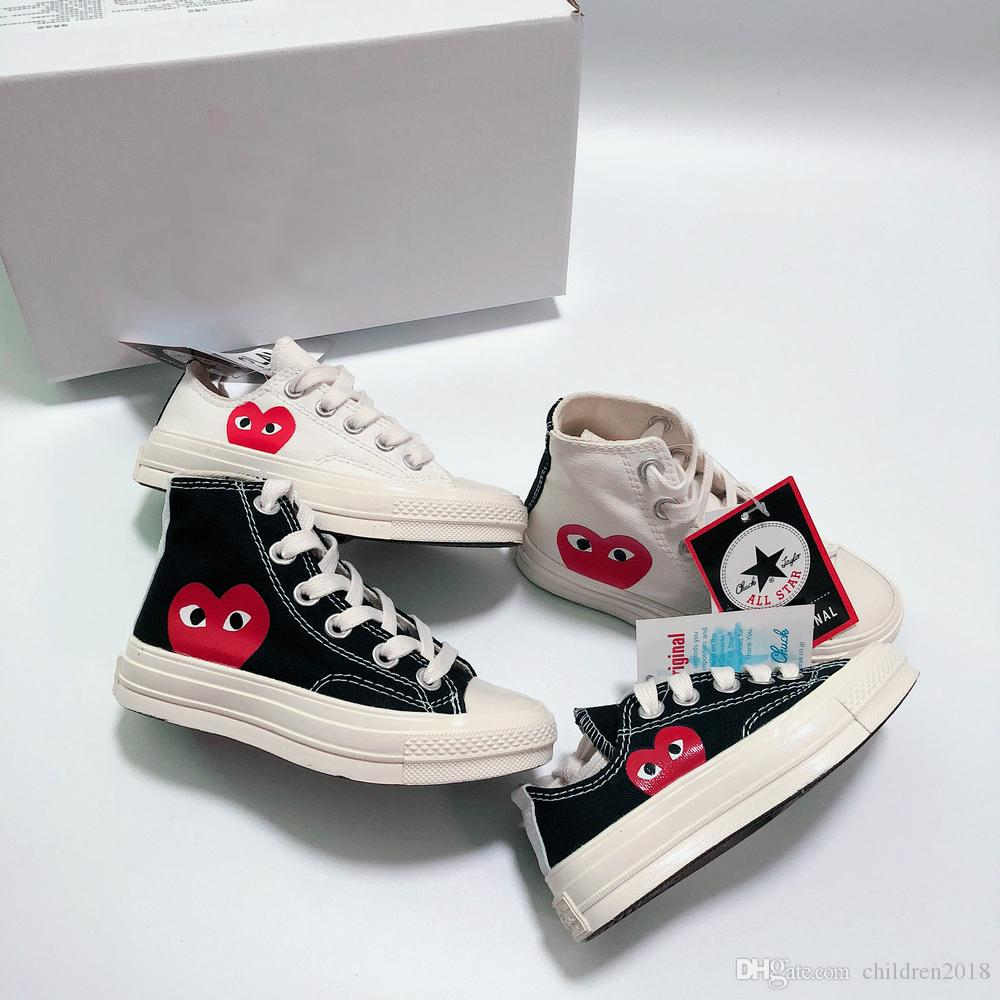 Brand All-Star 70s Hi C-D-G PLAY Kids Shoes For Girl Boys Canvas Shoes White Black Baby Toddler Children Sneakers Size 23-35