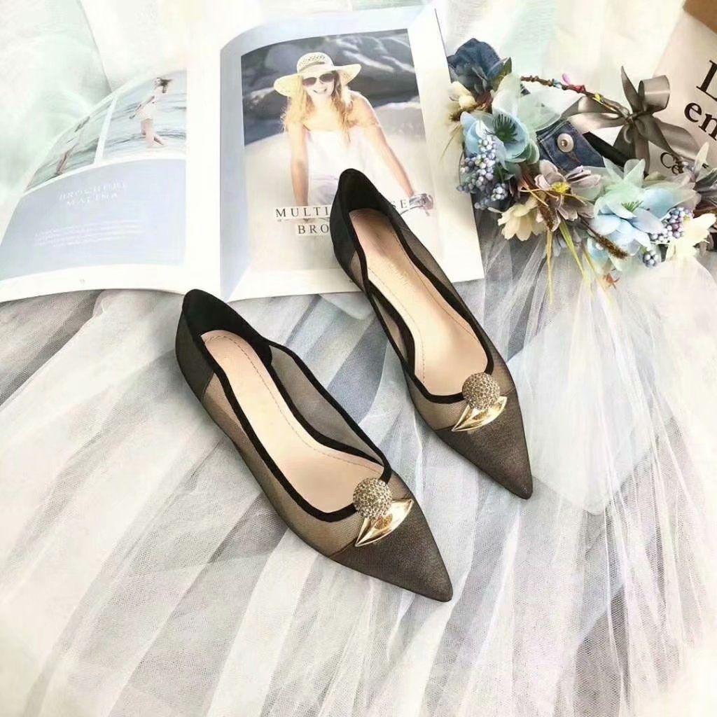 b4102024eb New 2019 Designer Women Black Gauze Pointed Toe With Rhinestone Flats Brand  Ladies Ballet Flats Dress Shoes 35-42 Free Shipping