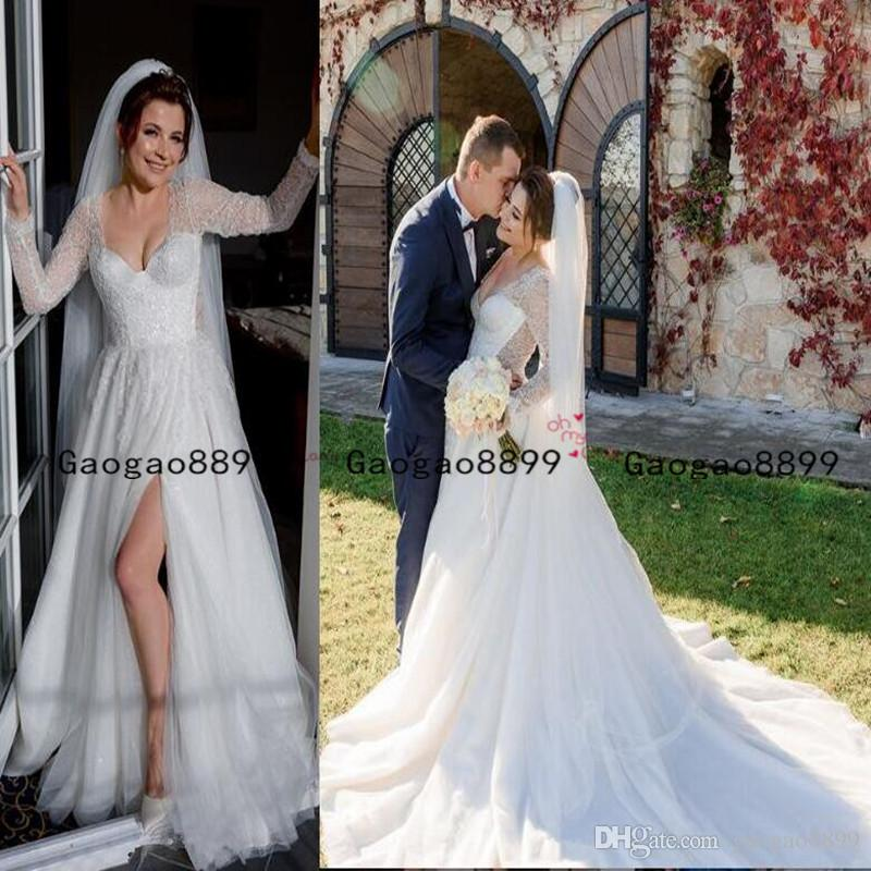 2020 vintage A-Line tulle lace Wedding Dresses Sexy slit long sleeves Bridal Vestidos Plus Size Wedding Gowns custom made lace up Back