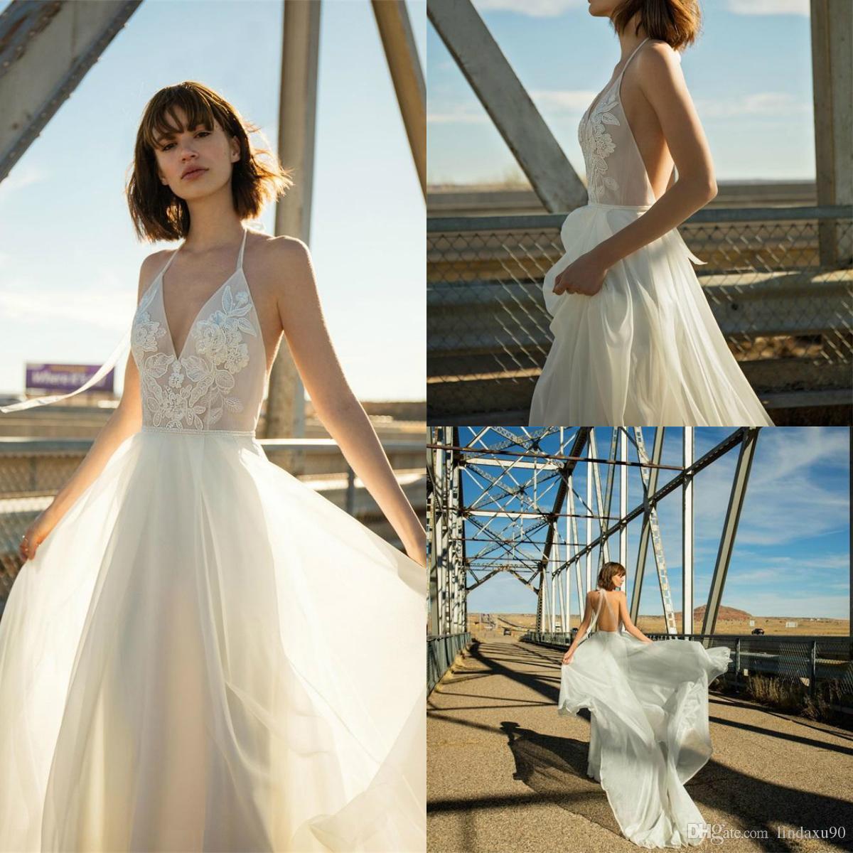 7e500b27b3b1 Bohemia Beach Lace Wedding Dresses 2019 Halter Neck Backless Sweep ...
