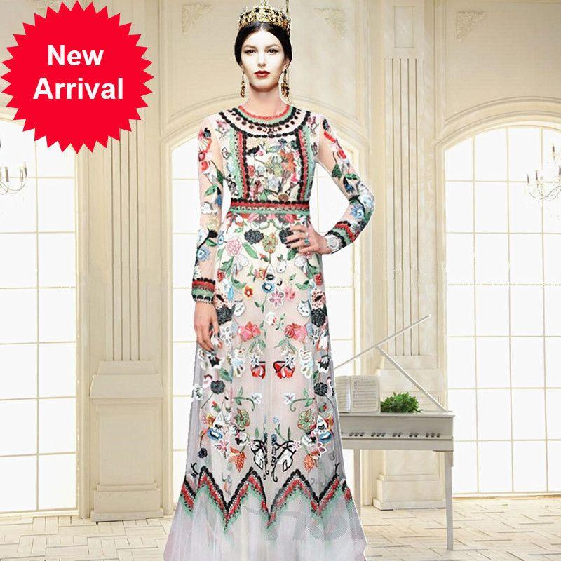 Runway Designer High Quality Heavy Embroidery Gauze Dress Plus Size ...