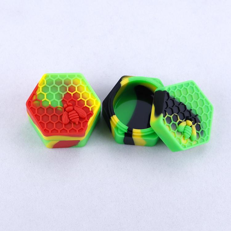 Conteneurs de cire d'abeilles antiadhésie 26ml HEXAGON HEXAGON HEIME BEE Conteneur de silicone de qualité alimentaire POARS DABBER OUTIL TOUT STOCKAGE Porte-huile pour vaporisateur
