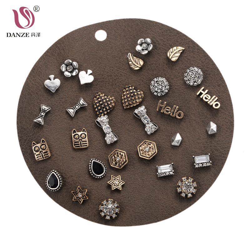 DANZE Punk Mixed Birds Star Heart Cross Shaped Small Stud Earrings Set For Women Imitation Pearl Jewelry kolczyki