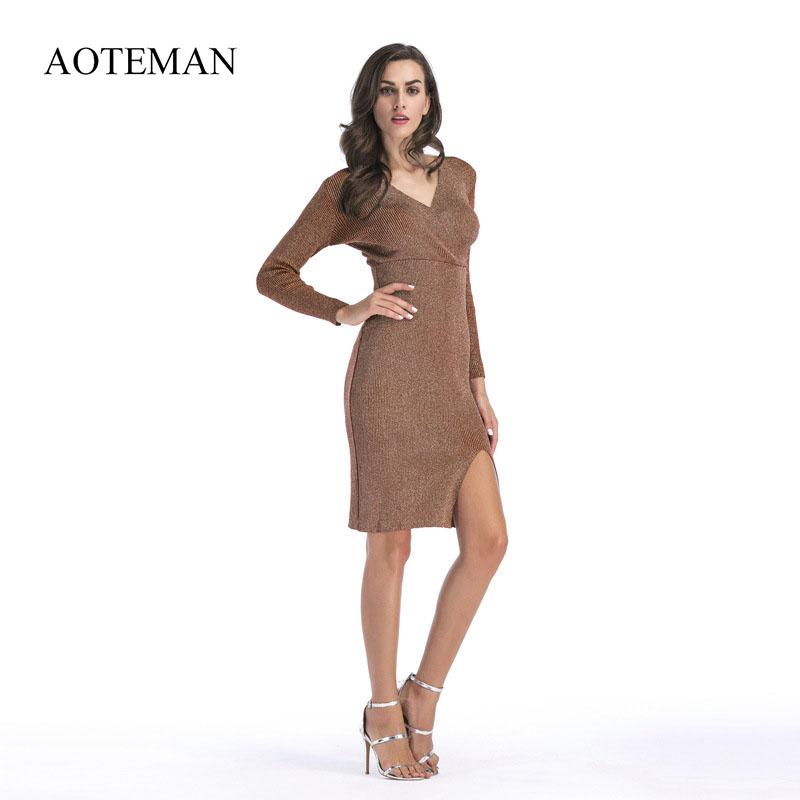 c1e83652c3 AOTEMAN Autumn Winter Sexy Dress Women Vintage V Neck Fork Sweater Dress  Casual Bodycon Beach Party Dresses Vestidos Robe Pull Long Sleeve Short Dresses  For ...