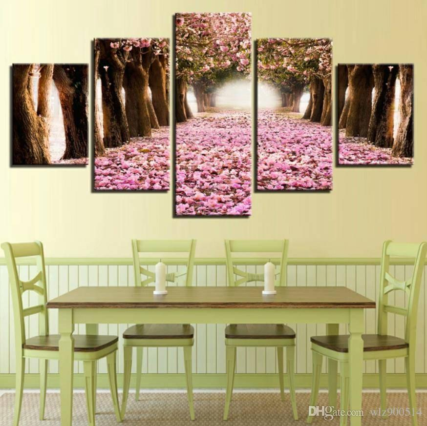 Pictures Wall Art Home Decoration 5 Pieces Pink Cherry Blossoms Tree For Living Room Modern Landscape Painting Posters