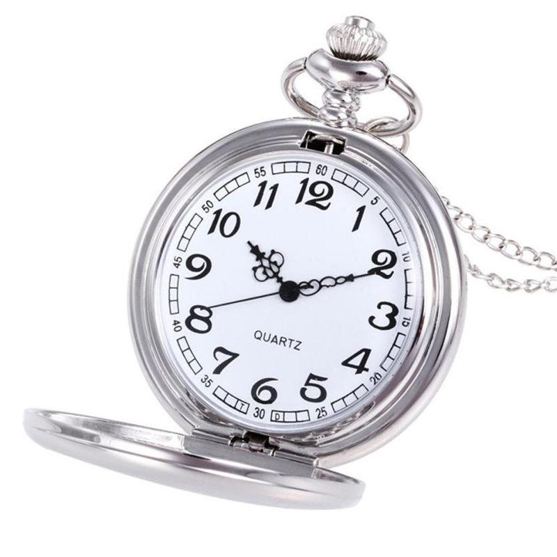 2018 Nuevo Reloj de Bolsillo de Plata Suave de Cuarzo y Reloj de Bolsillo con Cadena Corta, Mejor Regalo, hombres y mujeres Reloj Relogio de Bolso #C