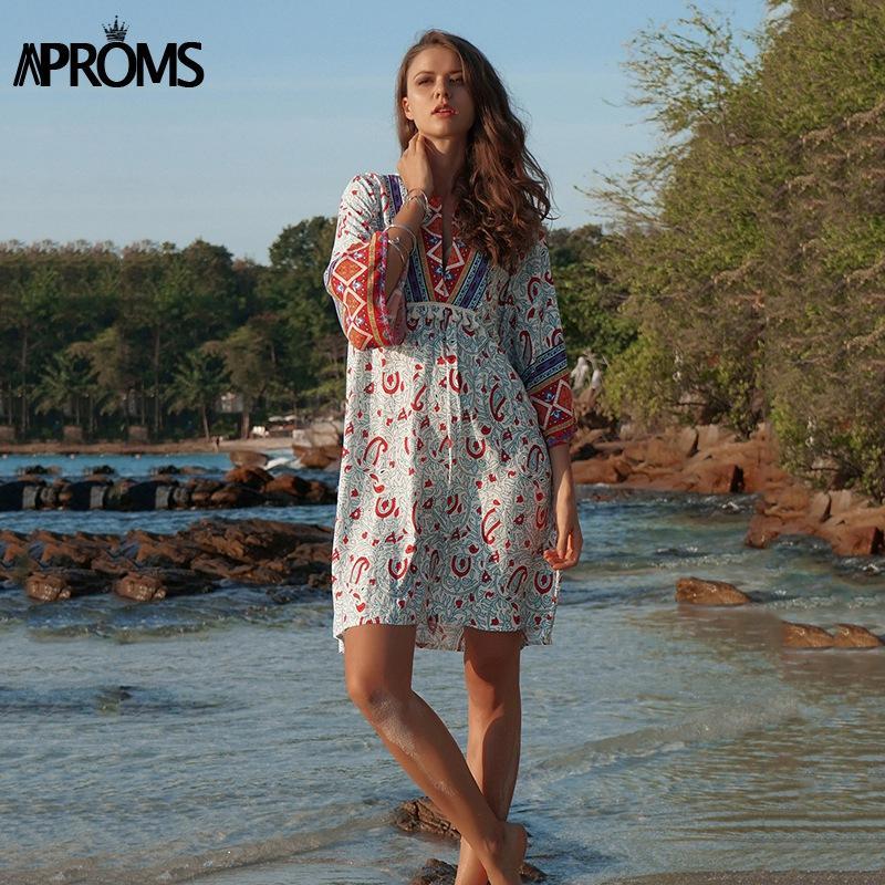 9681387c52e Aproms Elegant 3 4 Sleeve Summer Dress Women Bohemia Print Tassel Patchwork  Loose Beach Dresses Plus Size Robe Sexy Vestido 2019 Long Sleeve White And  Gold ...