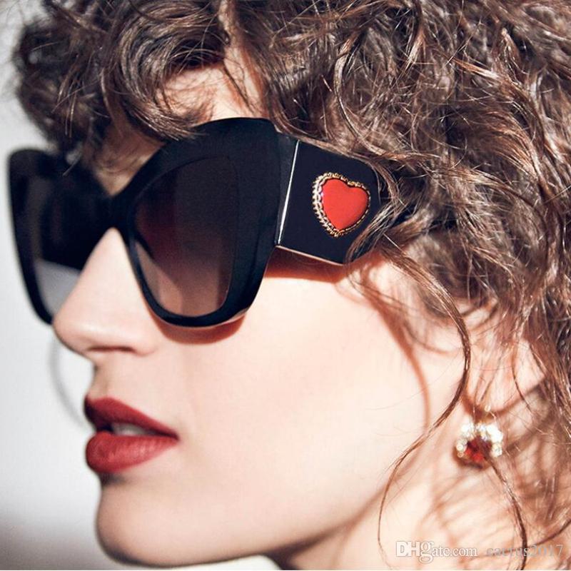 6f11965a3a Luxury Red Heart Decoration Cat Eye Sunglasses Women Brand Designer  Oversized Sun Glasses Trendy Shades Ladies Eyewear Fastrack Sunglasses  Smith Sunglasses ...