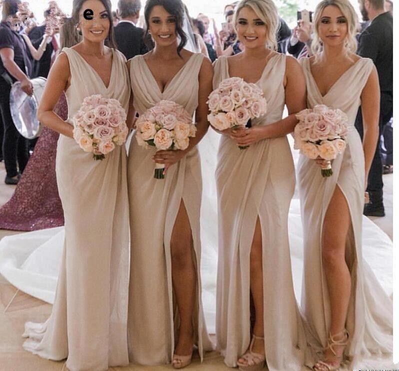 d857a522489a Deep V Neck Mermaid Bridesmaid Dresses Long Side Split Sexy Wedding Party  Dress Sheath Maid Of Honor Gowns Plus Size Vestidos Cheap Brown Bridesmaid  Dresses ...