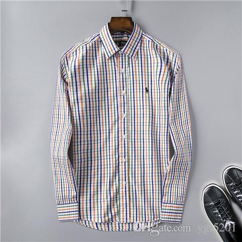 ff310d25353 New 2019 US Luxury POLO Brand Designer Men s Casual Shirts 001 Fashion  Summer Long Sleeve Catwalk shows business Dress Shirt Laple tees