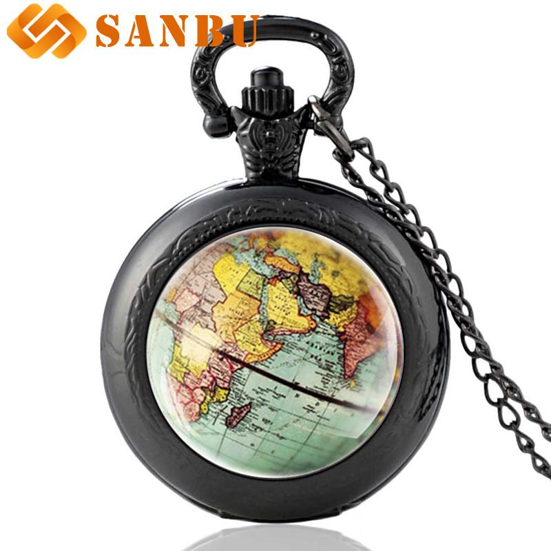 New Arrived Globe Dome Necklace Pocket Watch Earth World Map Pendant Glass Chain Jewelry New York Map Handmade Necklace Clock