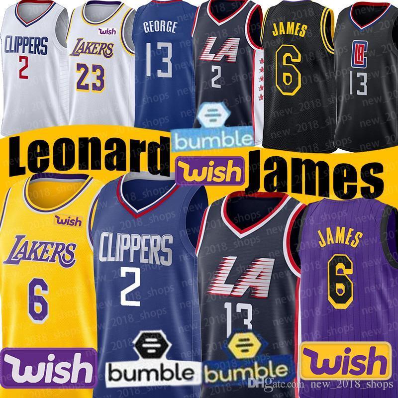 official photos 53936 28836 NCAA LA Clippers Jerseys Kawhi 2 Leonard 6 LeBron James Paul 13 George 23  Anthony Davis Los Angeles Basketball School Laker