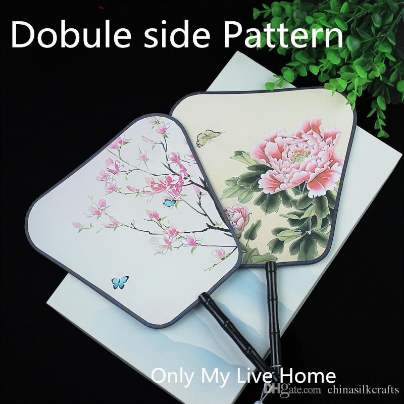Square Double-side Fancy Ladies Hand Fans Traditional Handle Chinese Fan Decor Ethnic Costume Silk Dance Fan Wedding Favors