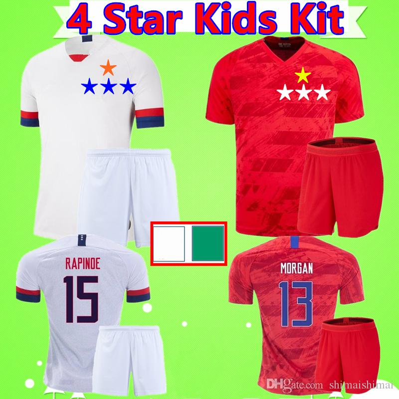 4 Star Kids Kit 2019 women world cup Soccer Jerseys America Football Shirts boys sets USA national team United States children suit uniforms
