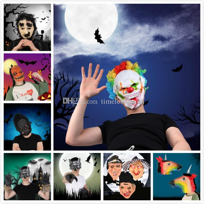 24 Styles Funny Scary Horror Mask Party Halloween New Year Fool's Day Latex Mask Cosplay Costume Full Face Masks Woman Man