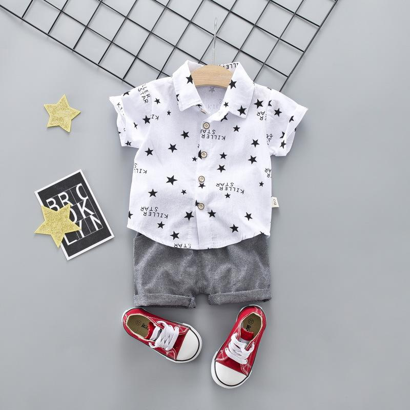 dd88f45d 2019 Baby Boy White Shirt Star Letter Suit Clothing Short Sleeve Shirt Boys  Suit For Kids Clothes2019 From Anglestore, $4.02 | DHgate.Com