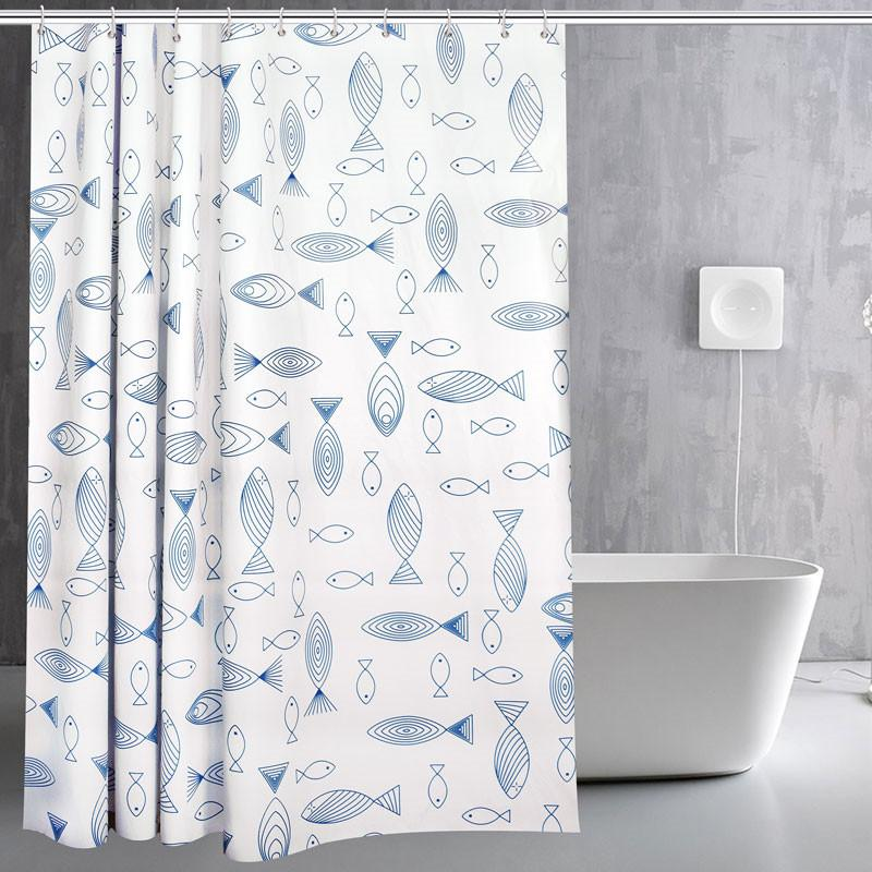 2019 White Line Fish Printing Waterproof Mildew Shower Curtain Toilet Partition Bathroom Bath With Hooks Home Decor From Anzhuhua 2319